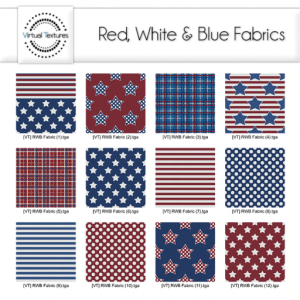 #12 Virtual Textures Red White & Blue Fabrics