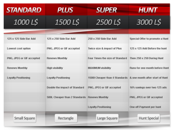 SL HUNTS ADVERTISING PRICING TABLE