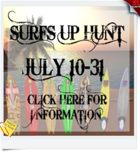 SURFS UP HUNT SIGN