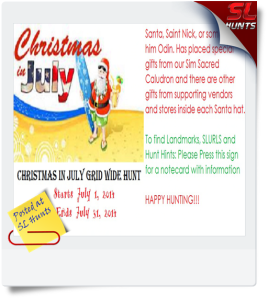 Christmas in July Grid Wide Hunt Sign