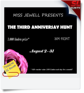 third anniversary hunt logo . Cheryne Jewell